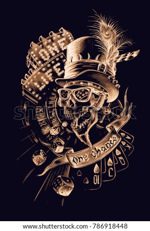 scull in hat vector hand drawn