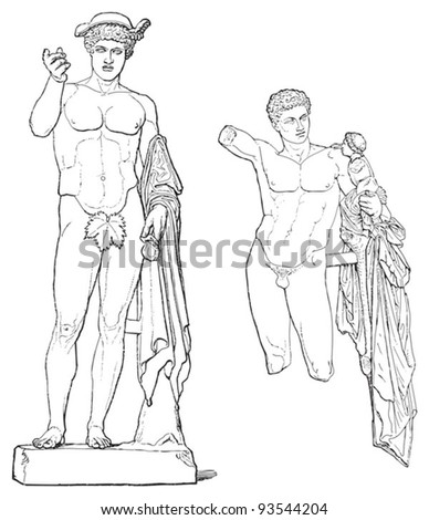 Sculpture of Hermes - greek sculpture / vintage illustration from Meyers Konversations-Lexikon 1897