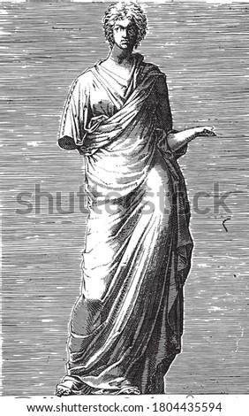 Sculpture of Urania, muse of astronomy, anonymous, 1584, vintage engraving. Zdjęcia stock ©