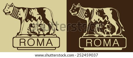 Sculpture symbol of Rome silhouette, vector drawing .