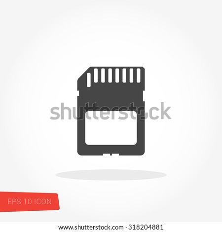 SD Card, Sandisk Isolated Flat Web Mobile Icon / Vector / Sign / Symbol / Button / Element / Silhouette