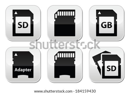 Stock Vector Sd Memory Card Adapter Buttons Set