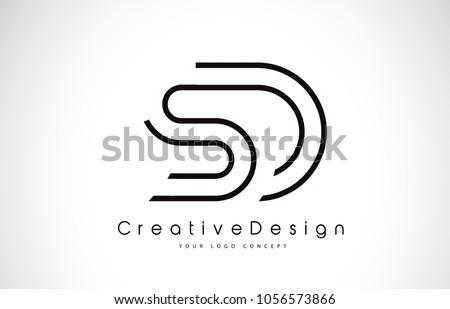 SD S D Letter Logo Design in Black Colors. Creative Modern Letters Vector Icon Logo Illustration. Zdjęcia stock ©