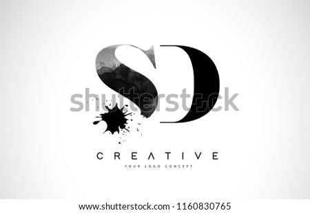 SD S D Letter Logo Design with Black Ink Watercolor Splash Spill Vector Illustration.