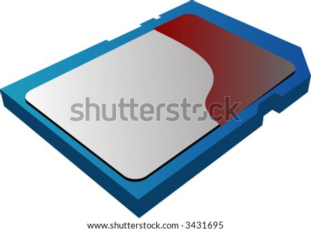 SD (Secure Digital) Memory card illustration, 3d isometric style