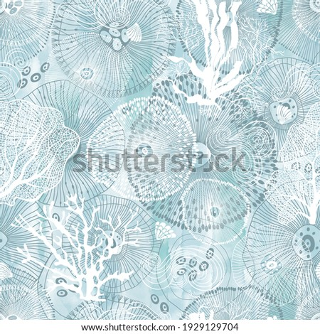 Sea. Abstract seamless pattern on the marine theme on blue watercolor background. Vector. Perfect for design templates, wallpaper, wrapping, fabric and textile. Imagine de stoc ©