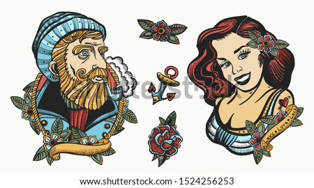 Sea adventure collection. Old school tattoo. Sea wolf captain and sailor girl. Marine elements. Traditional tattooing style