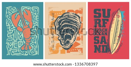 Sea ​​adventure design for the summer. Shell surf and lobster T-shirt design.Vector illustration.