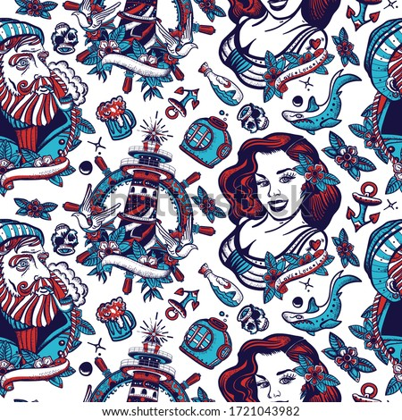 Sea adventure seamless pattern. Old captain, lighthouse and sailor girl pin up style. Nautical art. Old school tattoo background