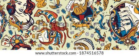 Sea adventure vintage seamless pattern. Old school tattoo style. Marine background. Funny underwater monster. Sea wolf captain, octopus kraken, pirate ship and sailor girl. Nautical art