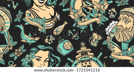 Sea adventure vintage seamless pattern. Sea wolf captain, lighthouse and sailor girl. Nautical art. Old school tattoo style. Traditional tattooing concept