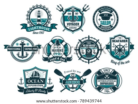 Sea anchor and boat helm nautical badge set. Anchor and steering wheel of marine ship, sailboat, lighthouse, diving helmet, bell and captain cap with lifebuoy, rope, chain for nautical heraldic design