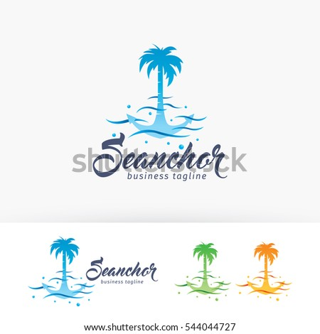 sea anchor vector logo