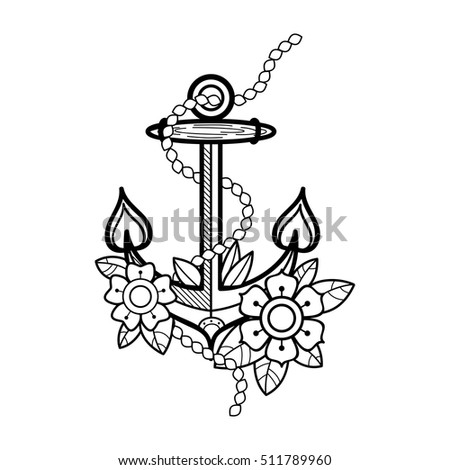 sea anchor  with flowers and