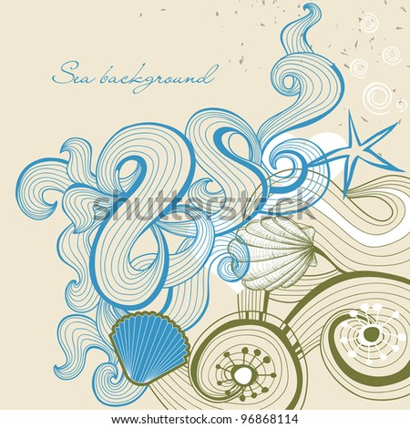 Sea and beach vector background