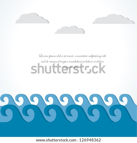 Sea and cloud. Vector  illustration Card.