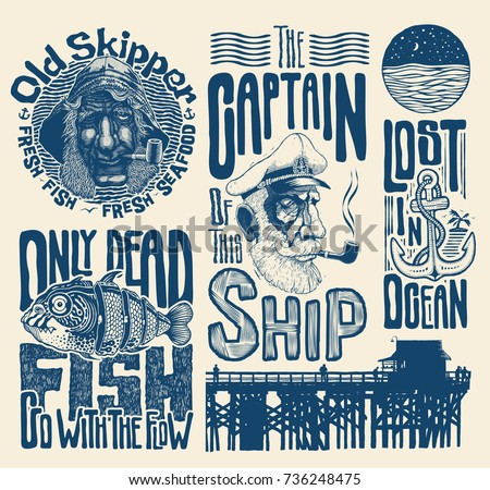 sea and nautical typography and ...