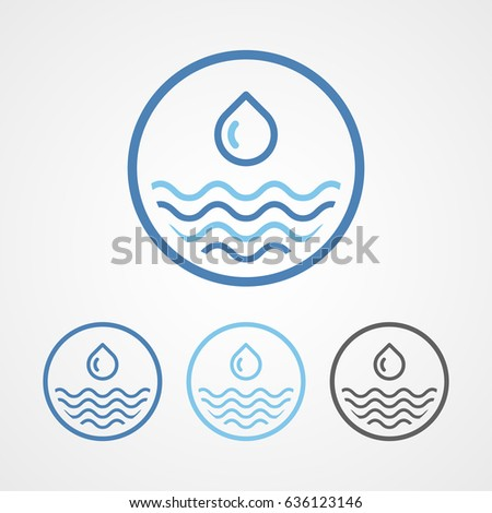sea and river water drop stroke line icon with various color