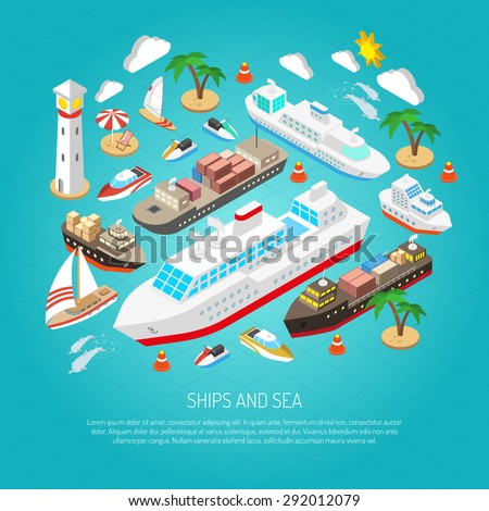 sea and ships with ferries