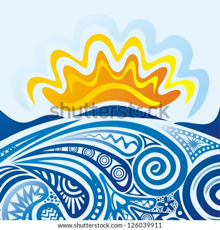 sea and sun pattern vector