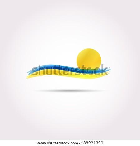 sea and sun vector icon