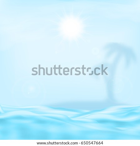 sea and the sun with blurred