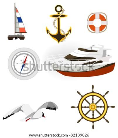 Sea and yachting symbols. Used solid colors.