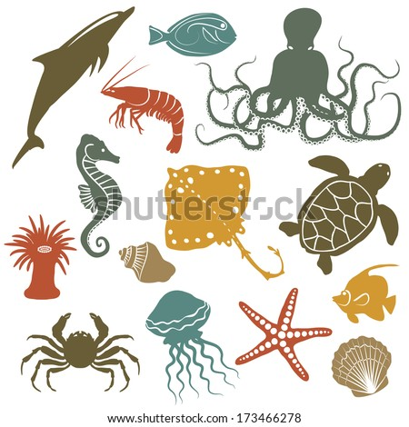 Stock Photo sea animals and fish icons - vector illustration