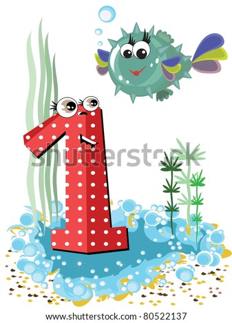 Sea animals and numbers series - stock vector
