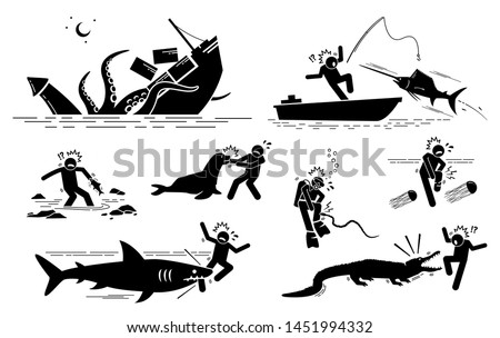 Sea animals and underwater creatures attack human icons signs symbols. Illustrations depict giant squid, sailfish, fish, sea lion, sea snake, box jellyfish, shark, and crocodile attacking on people.
