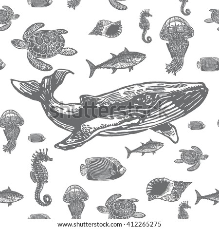 sea animals black and white