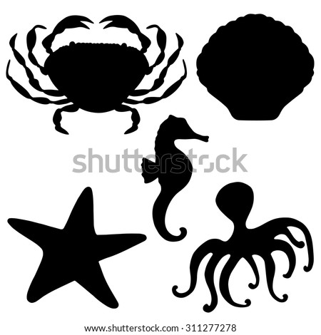 sea animals black silhouettes