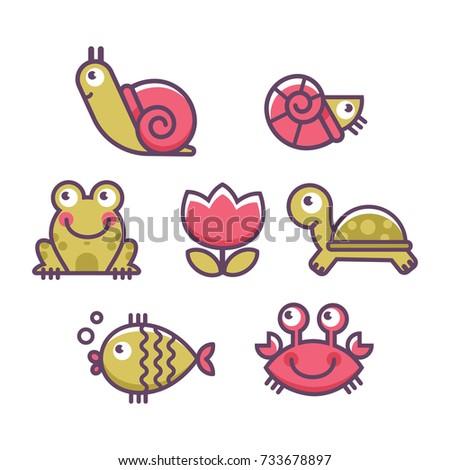 sea animals icon set turtle