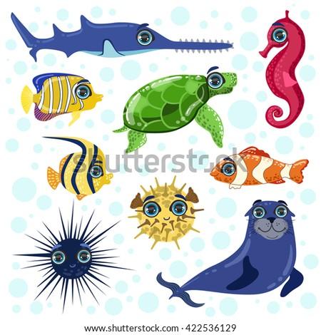 sea animals set of bright color
