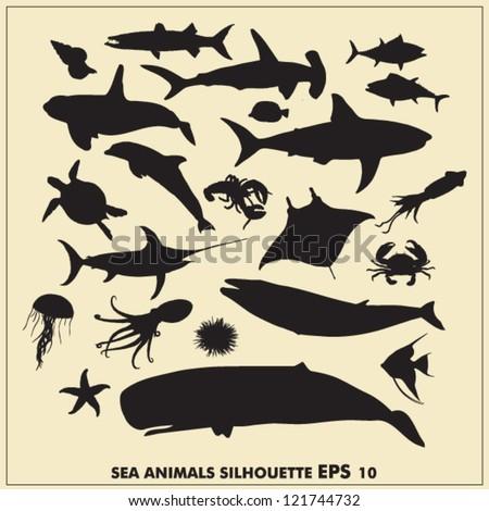 Sea animals silhouette