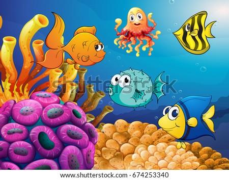 Sea animals swimming under the ocean illustration #674253340