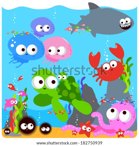 Sea animals. Vector Illustration of colorful sea animals swimming underwater.