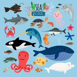 Sea Animals. Vector underwater animal creatures and fish in the sea, swordfish and langoustine, ocean beach turtle and starfish isolated on blue background