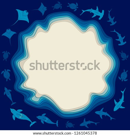 Stock Photo Sea background with layers of water, island and sea animals. Vector colored background with place for text.
