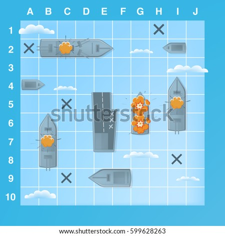 sea battle game elements with