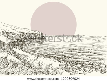 sea  beach and cliff sketch