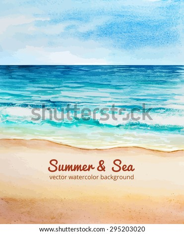 sea beach watercolor vector