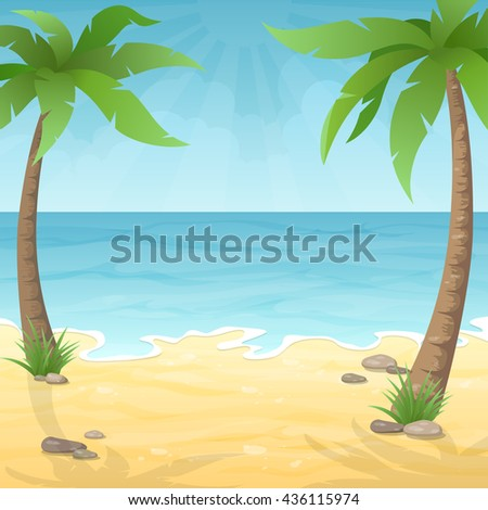 sea beach with two palm tree