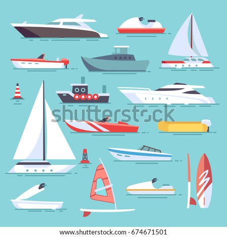 Sea boats and little fishing ships. Sailboats flat vector icons. Set of water transport boat and vessel, tugboat and motorboat illustration