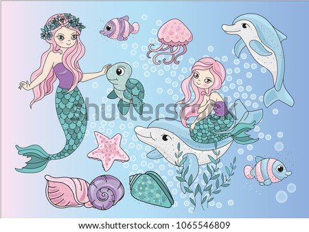 Sea Clipart MERMAIDS Color Vector Illustration Blue Sea Ocean Underwater Magic Fairyland Cartoon Beautiful Princess Dolphin Jellyfish Gold Glitter Scrapbooking Print Card Album Photo Babybook