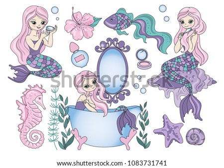 Sea Clipart PURPLE MERMAID Color Vector Illustration Set About Magic Cartoon Picture for Scrapbooking Babybook and Digital Print on Card And Photo Children's Albums