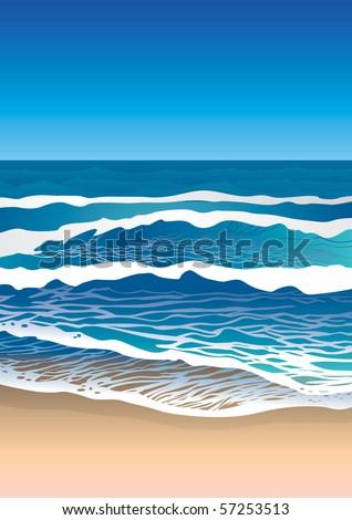 sea coast  waves on water