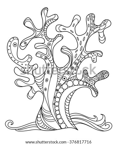 Sea Coral Doodle Zentangle Hand Drawn Illustration In Black And White Coloring Page Free Stock Image