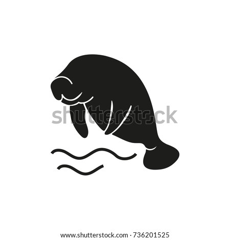 Sea cow jumping out of water icon