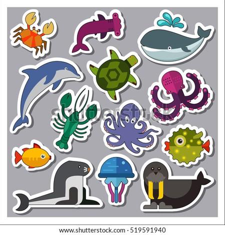 sea creatures icons set